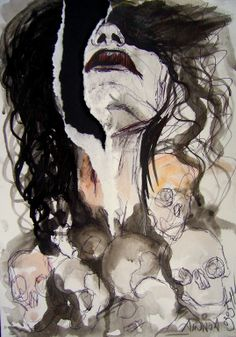 "Saatchi Online Artist: Priscilla Ainhoa Griscti; Pen and Ink, 2011, Drawing ""Morte"""