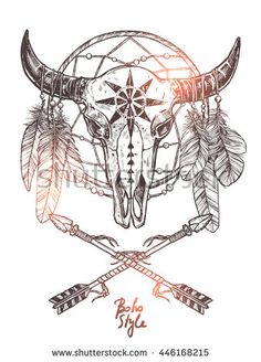 Boho Sketch Illustration With Hand Drawn Bull Skull With Indian Arrows, Feathers And Dreamcatcher. Monochrome Hipster Fashion Print Boho Sketch Illustration With Hand Drawn Bull Skull With Indian Arrows, Feathers And Dreamcatcher. Indian Arrow Tattoo, Indian Skull Tattoos, Bull Skull Tattoos, Bull Skulls, Indian Tattoo Design, Native American Arrow Tattoo, American Indian Tattoos, Boho Tattoos, Feather Tattoos