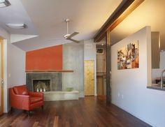 Wohnzimmer Farbgestaltung Orange Akzentwand