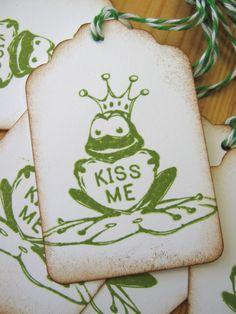 Kiss me frog prince valentine tags.