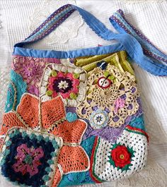 Häkeltasche - bag with crochet doilies
