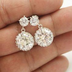 Wedding Earrings Bridal Earrings Round Cubic Zirconia Earrings Silver Post Wedding Jewelry on Etsy, $32.00
