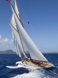 "55 metre ""Elena"" designed by Nathanael Herreshoff. featured in 'Boat International' jwb. Classic Sailing, Classic Yachts, Parasailing, Boat Rental, Set Sail, Boat Tours, Wooden Boats, Tall Ships, Catamaran"