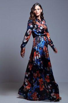 vestido camisero con estampado de flores largo de manga larga de otoño invierno…