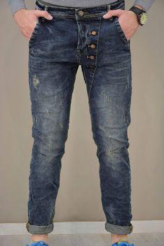 Ανδρικό παντελόνι τζίν με κουμπιά PANT-5022 Παντελόνια τζίν - Jeans & Ντένιμ Collections, Denim, Jeans, Fashion, Knights, Moda, Fashion Styles, Fashion Illustrations, Denim Pants