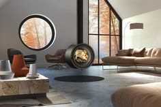 This is a picture of the Dik Geurts Odin Stove Odin Tunnel Double Sided Stove Direct Vent Fireplace, Double Sided Fireplace, Wood Burning Fireplace Inserts, Wood Burning Fires, Double Sided Stove, Fireplace Dimensions, Harmony Design, Stove Installation, Home Plans