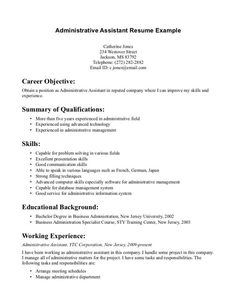 Resume Example For Administrative Assistant Administrative Assistant Resume Sample  Resume Sample  Pinterest .