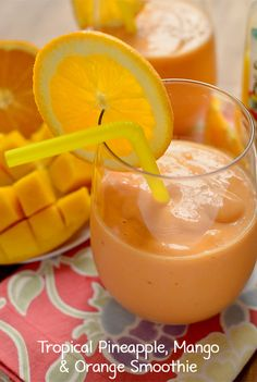 Pineapple, Mango and Orange Smoothie (with a secret ingredient!) | iowagirleats.com