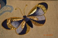 Types Of Embroidery, Silk Ribbon Embroidery, Hand Embroidery Designs, Embroidery Patterns, Art Du Fil, Butterfly Embroidery, Lesage, Brazilian Embroidery, Gold Work