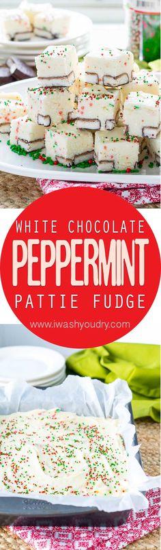White Chocolate Peppermint Pattie Fudge
