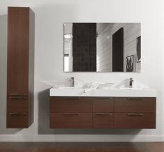FLOTTANTE   Vanité de salle de bain  en mélamine Collection : Les Mélamines  Modèle de portes :  Moderne