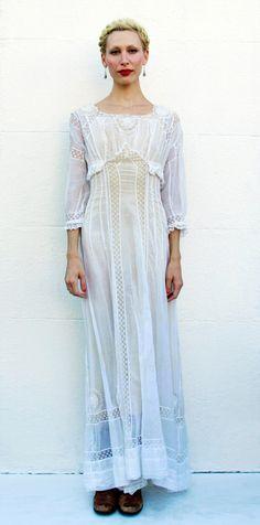 Victorian White Long Lace Dress