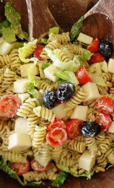 Pesto Pasta Salad ... I added chicken and swapped out the sour cream for mayo. and left the lettuce on the side