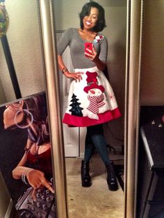 DIY Tacky Christmas Party outfit idea! Can't find a sweater, how about a Christmas tree skirt? :-)
