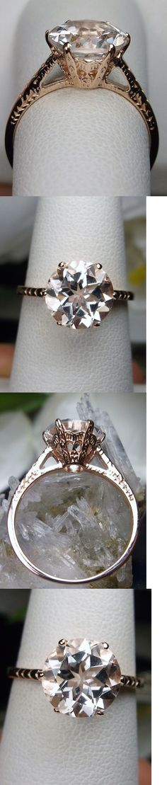 Rings 52603: 2Ct White Topaz Sterling Silver And Rose Gold Edwardian Filigree Ring Size Any/Mto BUY IT NOW ONLY: $50.0