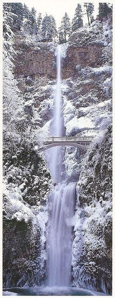"Put on the hats, boots and gloves for this winter travel wonder in Oregon: ""A frozen winter paradise: Oregon Panoramic - Multnomah Falls, Winter 