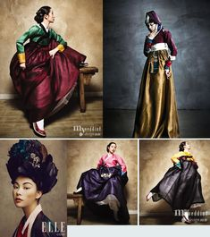 Hanbok Further examples of the Chima skirt, and an excellent picture of the Kisaeng hairstyle Korean Traditional Dress, Traditional Fashion, Traditional Dresses, Korean Dress, Korean Outfits, Korean Clothes, Korea Fashion, Asian Fashion, Modern Hanbok