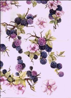 "Чайный домик ""Ежевичная полянка"" Flowers Background, Paper Background, Pintura Country, Nature Illustration, Decoupage Paper, Fruit Art, Scrapbook Designs, Fabric Wallpaper, Botanical Prints"