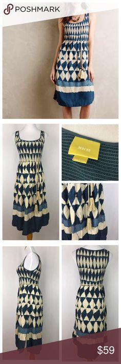 Maeve Anthropologie Castile Dress sz 2 100% rayon tie-die diamond print dress with smocked bodice and thin, braided belt with beaded tassels. Good pre-owned condition with no rips, holes, stains. Maeve Dresses