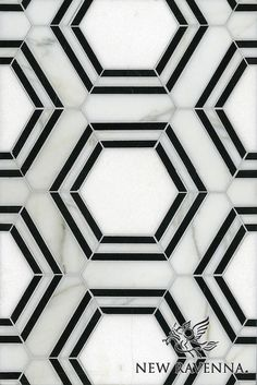 """Name: Pembroke<br /> Style: Contemporary<br /> Product Number: CB0922PEMBROKE (12""""x18"""")<br /> Description: Pembroke, a water jet natural stone mosaic, in Thassos, Nero Marquina, Calacatta Tia honed."""