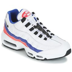 710f54a0f9e Nike AIR MAX 95 ESSENTIAL Blanc   Bleu   Rose - Baskets Homme Spartoo