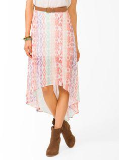 #Forever21                #Skirt                    #Ikat #Striped #High-Low #Skirt                     Ikat Striped High-Low Skirt                                                   http://www.seapai.com/product.aspx?PID=50289