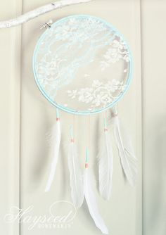 Lace dream catcher, beautiful for a girl's room. Hayseed Homemakin'