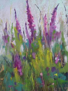 Wildflowers Purple Original Pastel by KarenMargulisFineArt on Etsy
