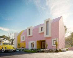 the sonora house by davit and mary jilavyan reflects the brightly coloured, minimal geometries of classic modernist mexican architecture. Pastel Home Decor, Christmas In The City, Visual Effects, Vivid Colors, My Dream, Facade, Photoshop, Exterior, House Design