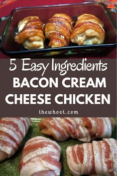 This Bacon Wrapped Cream Cheese Chicken is a taste sensation. It's one of ou… This Bacon Wrapped Cream Cheese Chicken is a taste sensation. It's one of our most favourited recipes and it is quick, easy and delicious. Bacon Recipes, Casserole Recipes, Cooking Recipes, Healthy Recipes, Game Recipes, Milk Recipes, Chicken Casserole, Pasta Recipes, Crockpot Recipes