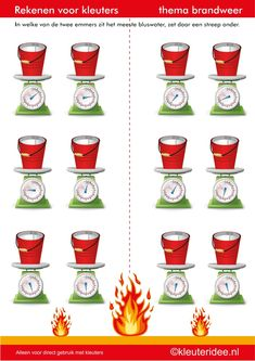 Rekenen met kleuters,emmers wegen, thema brandweer, juf Petra van kleuteridee, buckets of water weigh, free printable. Preschool Printables, Preschool Lessons, I Love School, Community Helpers, Math Activities, Kids Learning, Worksheets, Kindergarten, Education