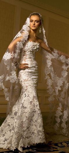 Lace #wedding #dress at Karoza Design LOVE the veil
