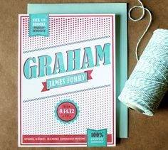 Graham's Modern Letterpress Baby Announcements   Design and Photo Credits: Curious & Co.