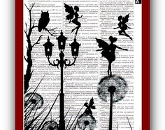 Dandelion and Night Fairy Art Print Love  Art, Silhouette Owl Art Print: Home  Wall Decor Mixed Media Art