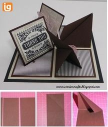 complicated looking card, but with great instructions Card Making Templates, Card Making Tutorials, Card Making Techniques, Fancy Fold Cards, Folded Cards, Pop Up Karten, Step Cards, Card Sentiments, Shaped Cards