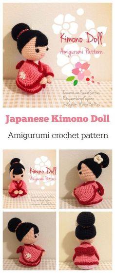 Crochet Japanese Amigurumi Kimono Dolls Pattern