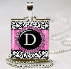 Pink Black Damask Initial Monogram Jewelry by vintagewithflair, $8.95