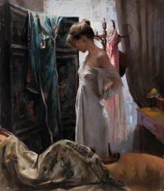 Vicente Romero pinturas mulheres impressionistas beleza Trocando de roupa
