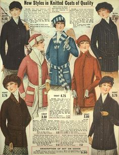 New Styles in Knitted Coats of Quality ~ Eaton's 1916-1917 Fall & Winter…