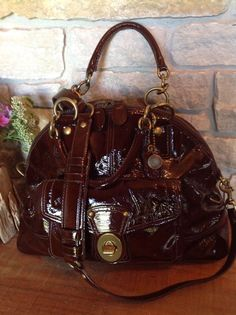 COACH Mahoghany Patent Leather Francine Domed TurnLock Legacy Shoulder Bag 12295 #Coach #MessengerCrossBody