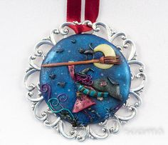 - SOLD - Goth Pagan Flying Witch Pendant  Original Wearable by DeidreDreams, $75.00