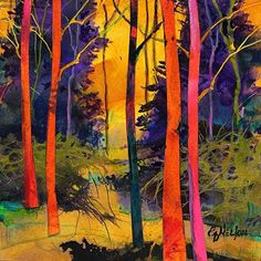 Forest Wonders 4 by Carol Nelson Giclee print ~ 6 x 6