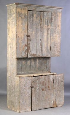 Antique stepped back country cupboard having a single door over an open shelf and base cabinet with door circa . Country Cupboard, Primitive Country Homes, Antique Cupboard, Primitive Bedroom, Primitive Furniture, Antique Cabinets, Primitive Antiques, Country Furniture, Country Decor