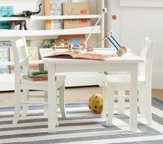 My First Table & Chairs   Pottery Barn Kids - in white for A. and espresso for M.