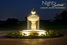 AOLP award winning water feature lighting. LED outdoor landscape lighting by www.night-scenes.com