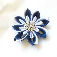 Excited to share the latest addition to my #etsy shop: Blue and white Flower clip. Kanzashi Ribbon flower hair clip. Blue and white Kanzashi flower barrette clip . Blue flower duckbill clip.