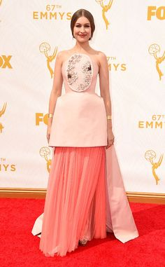 Joanna Newsom from 2015 Emmys: Red Carpet Arrivals  In Delpozo-- my second fav. i love the color and the architectural beauty of the design and i love the boldness of a woman confident enough to wear it!