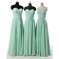 Mint Green Long Cheap Bridesmaid Dresses
