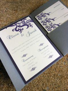 Pocketfold Wedding Invitation - Purple & Gray  http://www.etsy.com/shop/jkprostko