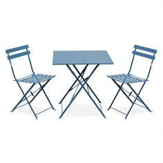 Salon De Jardin Bistrot Pliable Emilia Rond Vert Anis, Table ?60cm ...